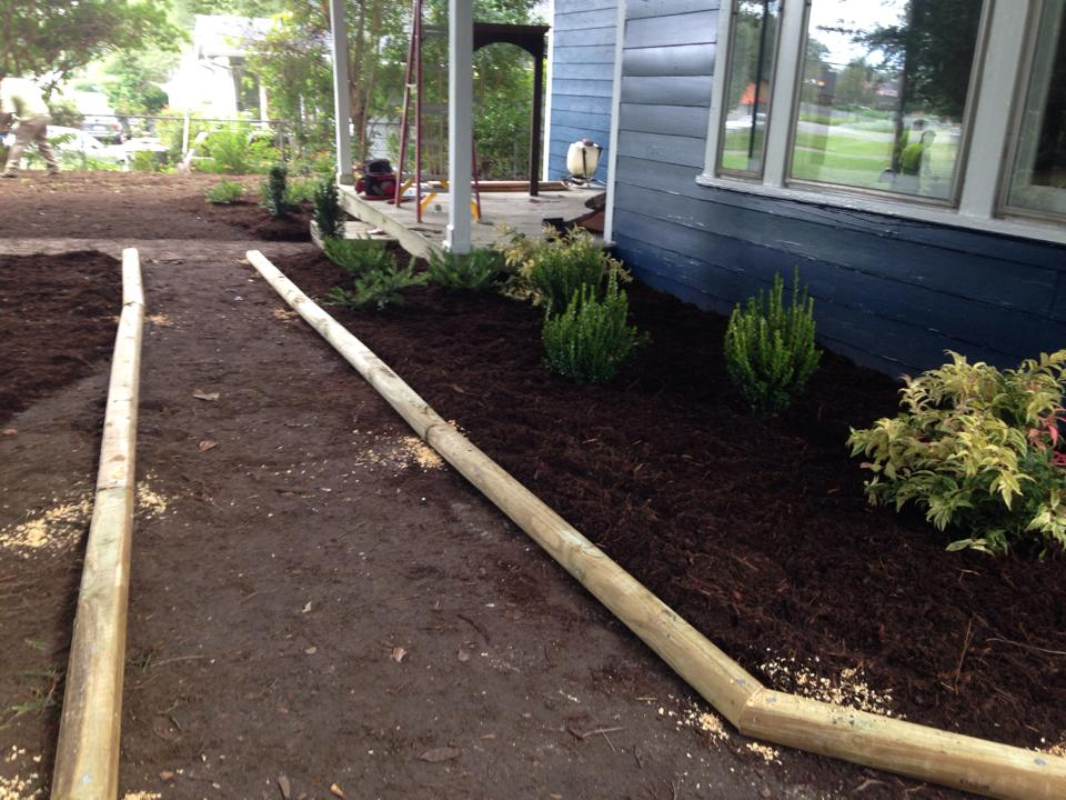 Creating flower beds with mulch and shrubs
